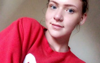 Hayley in a red jumper